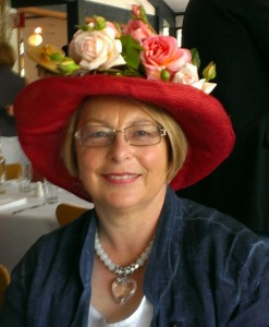 Kay in her flowery hat at Melbourne cup lunch